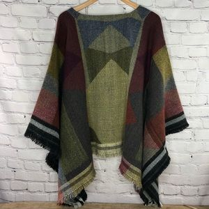Rue 21 multicolor blanket poncho sweater w/fringe